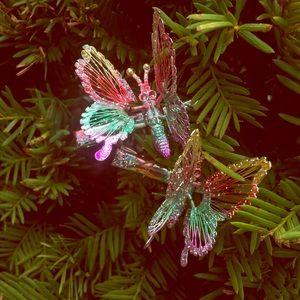 Vintage Multi Colored Glitter Butterfly Ha…